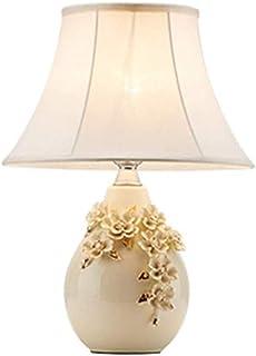 no-logo WAJklj Lampe De Table Sculpté Dimensions Lampe De Chevet Élégante Petite Chambre Céramique Chaude Lampe Tissu Roma...