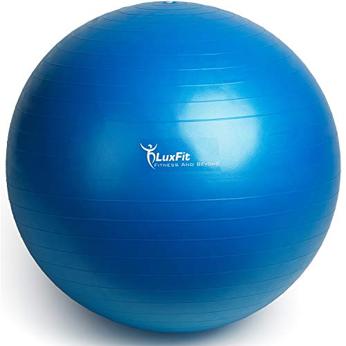 LuxFit Exercise Ball, Premium Extra Thick Yoga Ball '2 Year Warranty' - Swiss Ball Includes Foot Pump. Anti-Burst - Slip Resistant! 45cm, 55cm, 65cm, 75cm, 85cm Size Fitness Balls (Blue, 65cm)