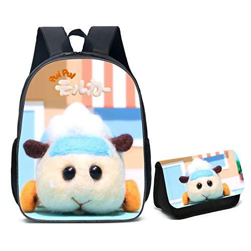 ZBK Anime Pui Pui - Juego de mochila escolar con diseño de conejillo de indias para niños y niñas, 6 colores