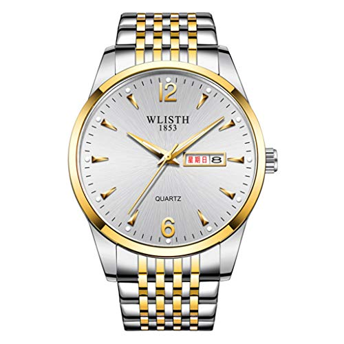 PIANAI 2021 nuevos Hombres Reloj/Banda de Acero Moda Doble Calendario Luminoso Impermeable Reloj/Estudiante Reloj de Cuarzo,D