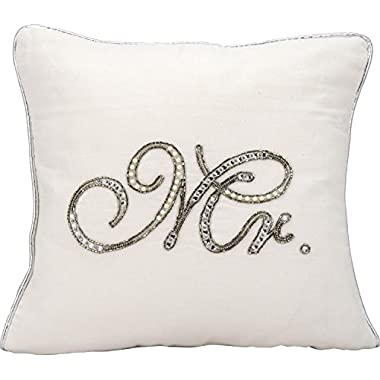 Kathy Ireland Worldwide E6316 White Decorative Pillow, 14  x 14