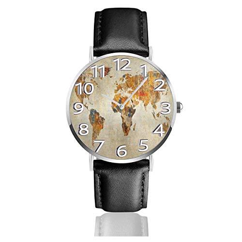 Relojes Antiguos de Earth Map Reloj de Pulsera de Cuero de PU Duradero Reloj de Cuarzo Life Silence con Acero Inoxidable Plateado