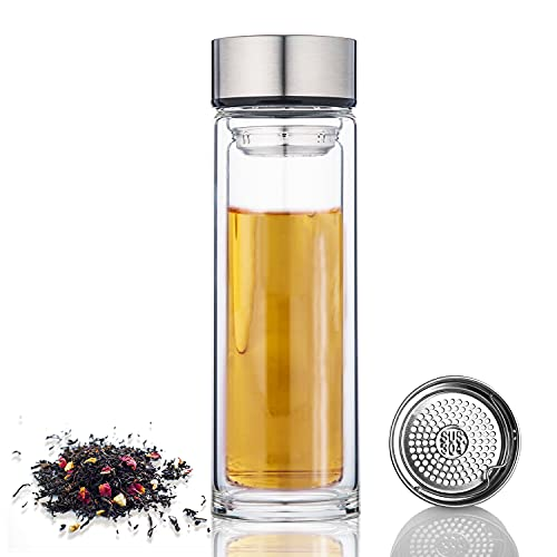 PARACITY Glass Tea Infuser Bottle Double Wall Borosilicate Glass Travel Mug Sealed Leakproof Water Bottle with Strainer for Loose Leaf Tea Beverage Coffee 12 OZ/350ML