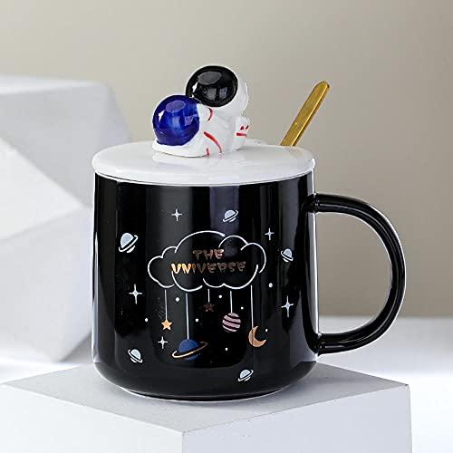 mglxzxxzc Taza De Agua De Astronauta De Tendencia Creativa Taza para Niños Y Niñas Taza De Cerámica para El Hogar De Oficina Simple Y Exquisita con Tapa Cuchara-Black_400Ml