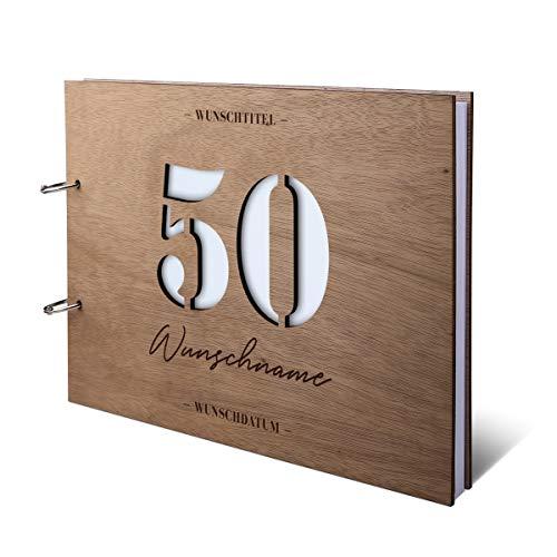 Runder Geburtstag Gästebuch Okoume Holzcover lasergeschnitten mit individueller Gravur inkl. 144 Naturpapier Seiten DIN A4 quer 302 x 215 mm - 50 Jahre