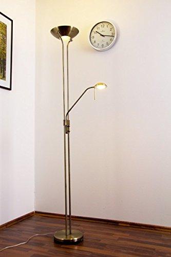 Lampadaire LED à variateur Rom couleur bronze, Luminaire de salon pour éclairage intérieur indirect pourvu d'un bras de lecture orientable, Teinte de lumière blanc chaud