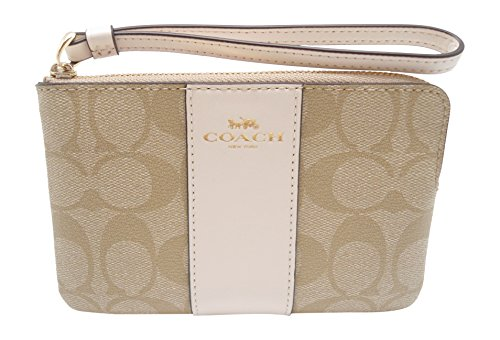 Coach Signature PVC Leather Corner Zip Wristlet, Light Khaki, Chalk