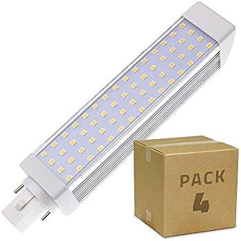 LEDKIA LIGHTING Pack Bombilla LED G24 12W (4 un) Blanco Frío 6000K - 6500K: Amazon.es: Iluminación