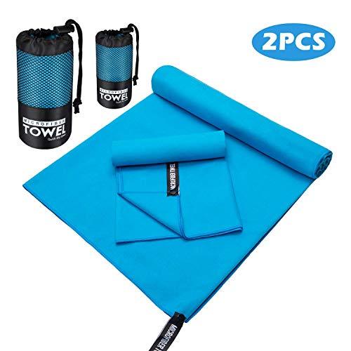 WATSABR Handtuch-Mikrofaser Handtücher, 2 Größen - kompakt, Ultra leicht & schnelltrocknend Handtücher,Perfekte Sporthandtuch, Strandhandtuch, Reisehandtuch und Badehandtücher(Blau)