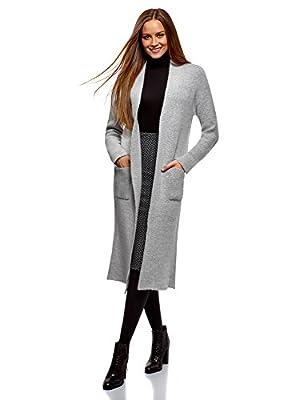 oodji Ultra Women's Long Knit Cardigan, Grey, US 0 / EU 34 / XXS by RIFICZECH s.r.o.