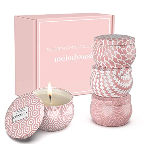 MelodySusie Aromatherapy Scented Candles for Home - Natural Soy Wax 4.4 Oz Portable Travel Tin Candle with Jasmine, Lily, Freesia, Rosemary Scents, Gift Set for Women, Valentine Day, Birthday- 4 Pack