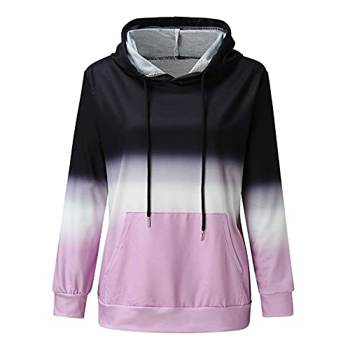 Uqiangy Hoodie Womens Classic Basic Hooded Athletic Top Lady Lightweight Casual Sweatshirt Blouse With Pocket,Multicolor (I-Pink, 22)