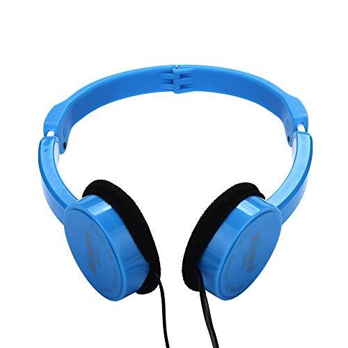 Marxways Kids Wire Headphones On Ear Faltbares Stereo-Headset für Kinder Kopfhörer für iOS Android Smartphone Laptop Tablet PC Computer (Blau)