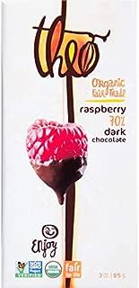 Theo Chocolate, Raspberry 70% Dark Chocolate Bar, Organic Cacao, 3 Ounce Bar, 12 Pack