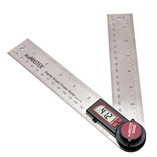 Calculated Industries 7455 AccuMASTER Digital Protractor Angle Finder Ruler for Crown, Trim, Woodworking | 7 Inch Stainless Steel Blade | Hold and Zero Function | Includes Battery, Protective Case