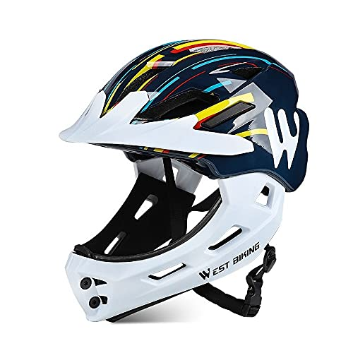 BMBM 3-15 Years Old Children's Bicycle Bicycle Helmet Full Cover Two-in-one Children's Bicycle Safety Helmet Scooter Riding Sports Protection 52-56CM (Color : Colorful, Size : 47-52cm)