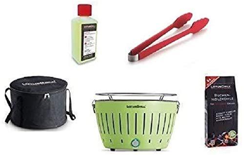 LotusGrill Starter-Set 1x Grill Limettengrün mit USB-Anschluß, 1x Buchenholzkohle 1kg, 1x Brennpaste 200ml, 1x Würstchenzange (Farbe nach Vorrat), 1x Transport-Tragetasche - der raucharme Holzkohlegrill