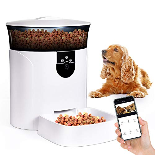 Price comparison product image Smart Pet Feeder 7L Automatic Cat and Dog Feeder,  1080P HD Camera for Voice and Video Recording & Feeding,  Pet Feeder with Timer Programmable,  2.4G Wi-Fi Enabled & Work with App for Android and iPhone
