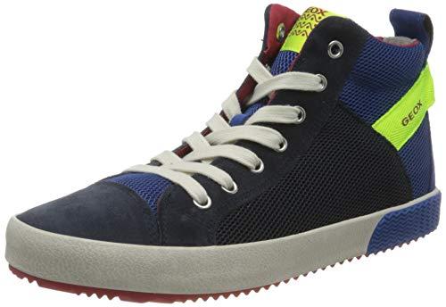 Geox J Alonisso Boy H, Sneaker a Collo Alto Bambino, (Navy/Fluo Yellow C4502), 34 EU