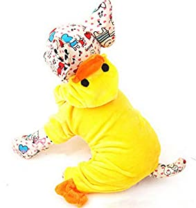 Zunea Pet Vêtements Vêtements pour chiens de petite taille Chat en velours Canard fête de Noël Costume Pyjama Jaune