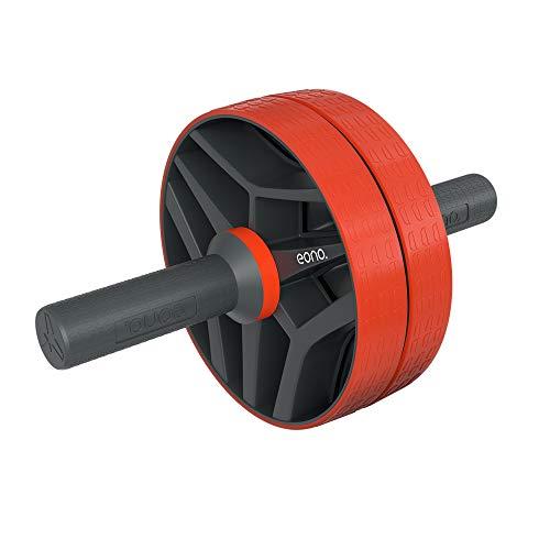 EONO by Amazon - AB Wheel Bauchtrainer mit Knieauflage Komfortgriffen für Zuhause, zum Trainieren von Bauchmuskeln, Rücken & Schultern