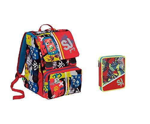 SJ High Tech Rucksack mit doppeltem Schutz, verstellbar und Federmäppchen 2 Pieno + Stift + Kugelschreiber + Lesezeichen