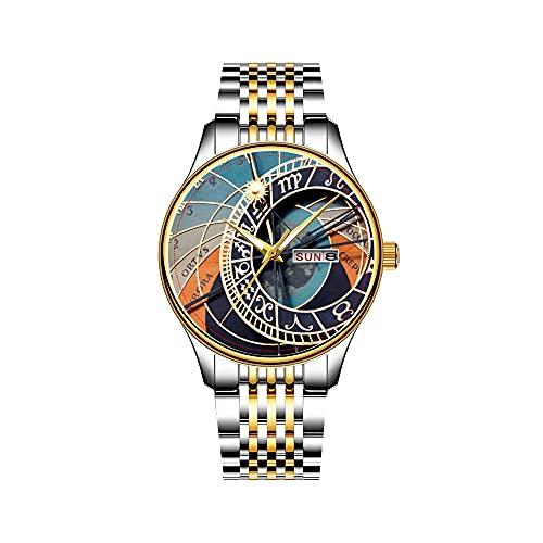 Reloj de pulsera para hombre, mecanismo de cuarzo, fecha, acero inoxidable, con ancla, náutica, monograma