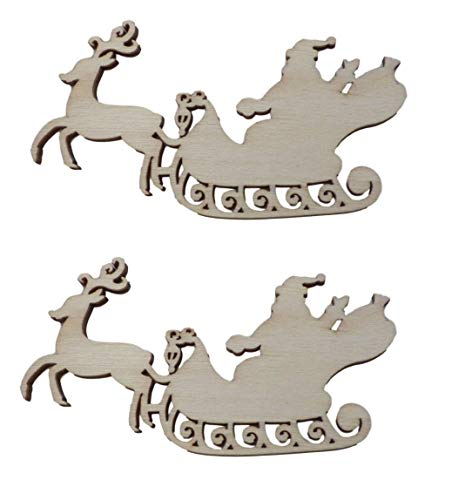 10pcs Rustic Wooden Reindeer with Santa On Sleigh Wood Craft Shapes Decoration