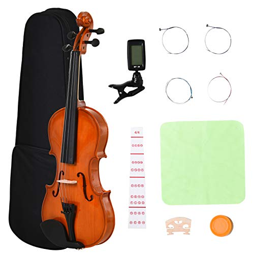 HOMCOM Violino 4/4 per Adulti con Accessori Inclusi (Custodia, Archetto, Corde, Ponticello, Accordatore) 58.5 x 21.5 x 7cm