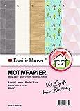 Familie Hauser Motivpapier 8 Bogen DIN A4 300g/m² Designpapier Bastelpapier für Miniaturen