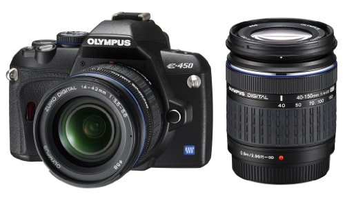 Olympus E-450 SLR-Digitalkamera (10 Megapixel, Art Filter, Live View) Kit inkl. 14-42 mm & 40-150 mm Objektive
