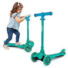 WHEELS LIGHT UP! As your kid scoot, the turning wheels light up in a variety of flashing color, adding fun twist to the ride. Children love this special feature, making their scooter unique! ADJUSTABLE HANDLEBAR: The Kicksy Wheels scooter features an...