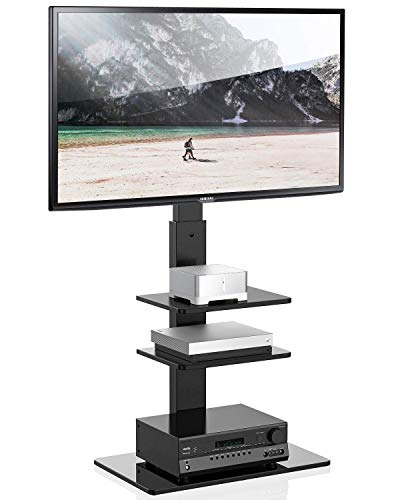 FITUEYES Universal Swivel Floor TV Stand with Mount Height Adjustable for Most TVs up to 65 Inch, Sturdy Tempered Glass Base and Component Shelves for Media Storage TT307001MB