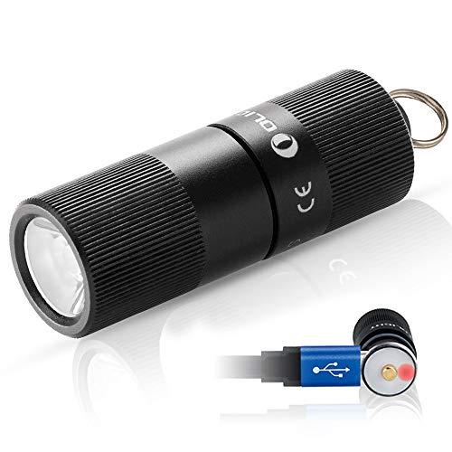Olight I1R EOS 130 lumens Piccolissima Torcia a LED Ricaricabile Portachiavi Mini Impermeabile IPX8, LED Philips LUXEON TX Raggio di luce 54m Lente TIR, Per Outdoors e Casa