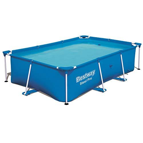Bestway Steel Pro Frame Pool zonder pomp, vierkant, zwembad met stalen frame, blauw 259 x 170 x 61 cm blauw