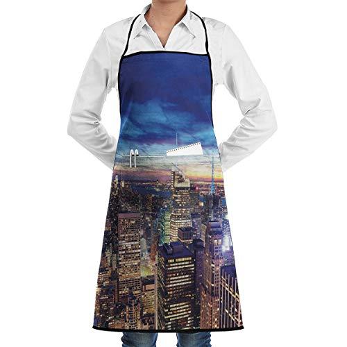 PONIKUCY Schürze Kochschürze,Empire State und Wolkenkratzer von Midtown Manhattan New York Luftbild in der Abenddämmerung,Küchenschürze Latzschürze Nackenband