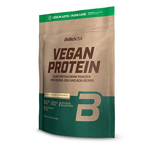 BioTechUSA Vegan Protein En polvo con sabor bebida a base de proteína vegetal, con bayas goji y acai en polvo, harina de quínoa, 2 kg, Pastel devainilla