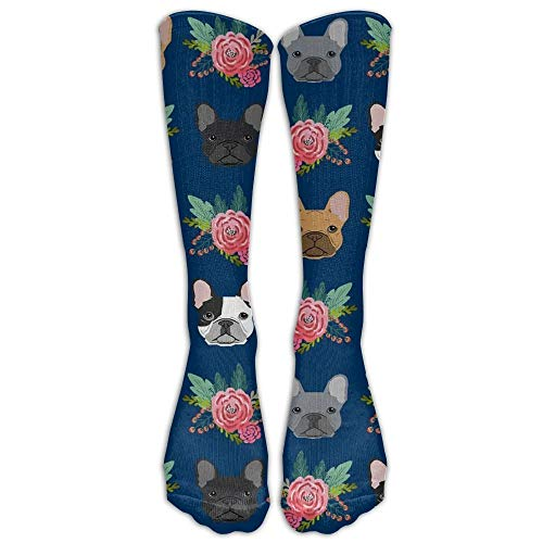 DEFFWBb French Bulldog Flowers Upgraded Knee High Graduated Compression Socks...