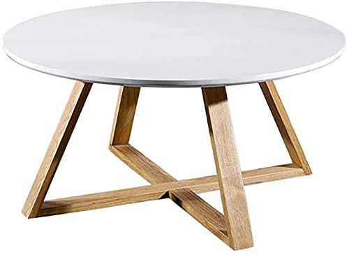Weißer Kleiner Couchtisch Schreibtisch weißer Holzrunder Kleiner Kaffeeteetisch Beistelltisch Ständer Wohnmöbel Racks Wohnzimmer 50cm