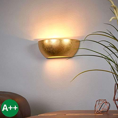 Lindby Wandleuchte, Wandlampe Innen 'Kolja' dimmbar (Modern) in Gold/Messing aus Gips/Ton u.a. für Wohnzimmer & Esszimmer (1 flammig, E14, A++) - Wandfluter, Wandstrahler, Wandbeleuchtung