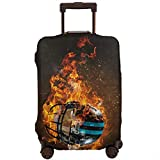 Jojoshop Housse de protection pour bagages avec casque de rugby brûlant, housse élastique lavable et durable anti-rayures, housse extensible pour 18-32'