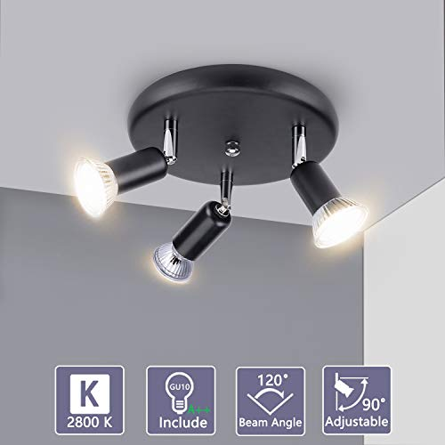 Bojim lampa sufitowa LED obracana o 350° czarna, zawiera 3 x 6 W żarówka punktowa ciepłe białe światło 2800 K, lampa sufitowa IP20 LED AC 230 V, 600 lm Ra82, lampa punktowa do sypialni kuchni salonu