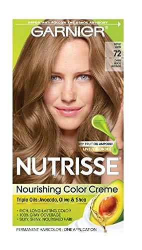 Garnier Nutrisse Nourishing Hair Color Creme, 72 Dark Beige Blonde (Sweet Latte) (Packaging May Vary)
