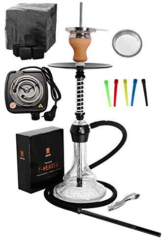 Kaya ELOX Eco 580 Twist Set con Cocina eléctrica carbón de cachimba boquillas Desechables Pinzas gestor de Calor (Glow 2)