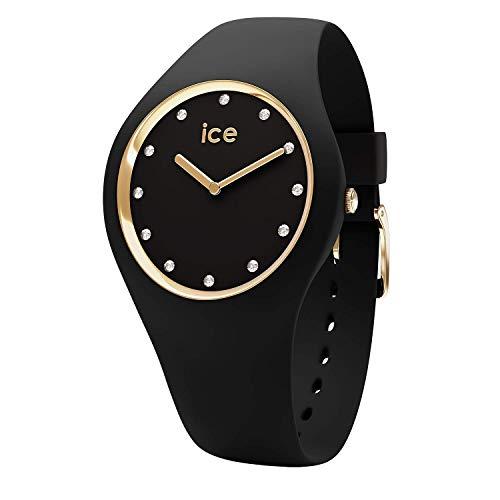Ice-Watch - ICE cosmos Black Gold - Schwarze Damenuhr mit Silikonarmband - 016295 (Medium)