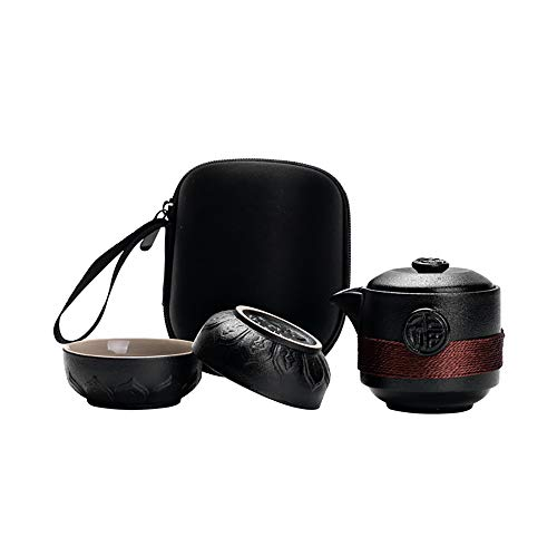 DQM Travel Tea Set, Portable Hand-Made Black Ceramic Teapot, One Pot Two Cups of Matte Texture Insulation Kungfu Tea Set, with Travel Bag Tea Towel