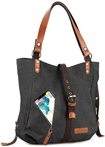 Upgrade Canvas Handbag Shoulder Bag Convertible Casual Backpack Purse School Tote Hobo Overnight product image