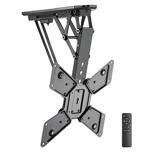 Mount-It Motorized Ceiling TV Mount With Remote, Electric Flip Down Pitched Roof Mount Fits 32, 37, 40, 47, 50 and 55 Inch Flat Screen TVs and Monitors, black