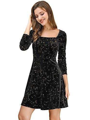 Allegra K Vestido Mini Estrellas Terciopelo Cuello Cuadrado Vintage para Mujer Navidad Día De Los Reyes Magos Negro L
