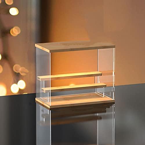 Vitrina de acrílico, soporte de exhibición de almacenamiento para coleccionables, figuras de acción, muñecas, vitrina, para vitrina de exhibición para coleccionables (estilo de luz de techo led)